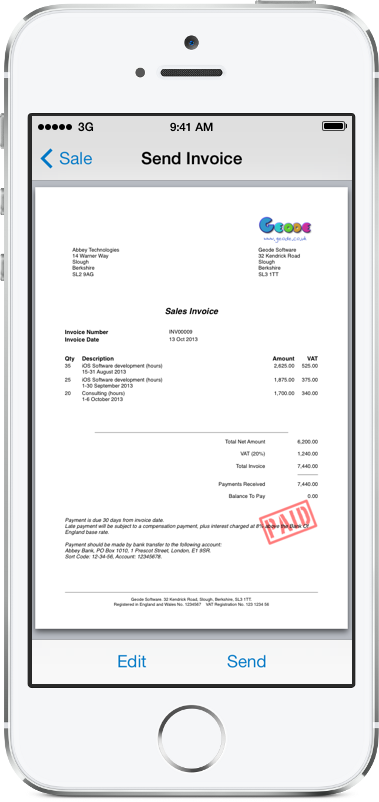 Easy Invoice creates professional PDF invoices straight from your iPhone or iPad
